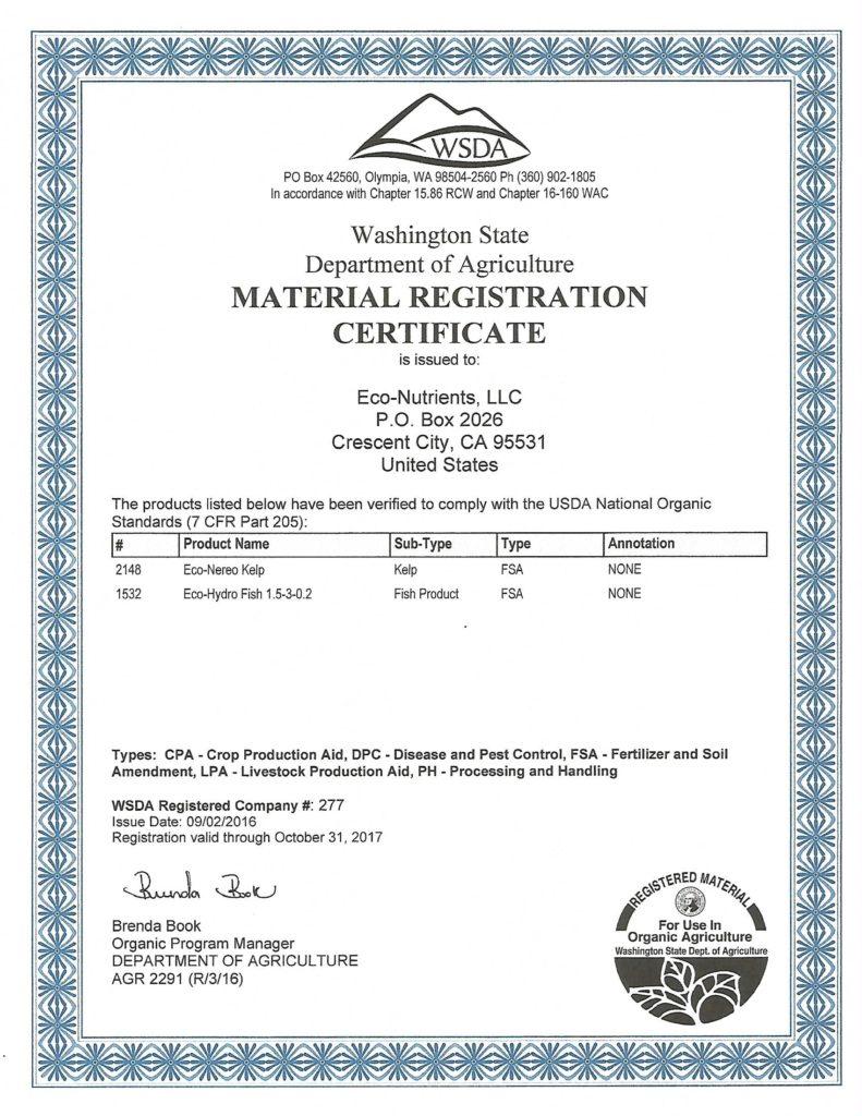 material registration certificate