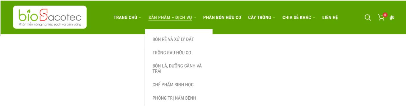 menu phân loại